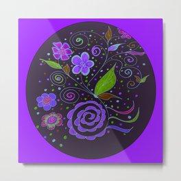 Flower Collage in Purple by Tinker Creek Designs Metal Print