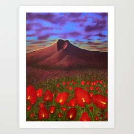 Flowers at Dusk Art Print