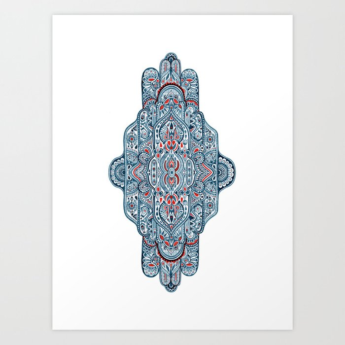 Hand painted symmetrical pattern Art Print