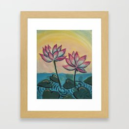 Lotus in the Pond Framed Art Print