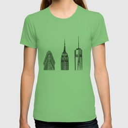 New York City Iconic Buildings-Empire State, Flatiron, One World Trade T-shirt