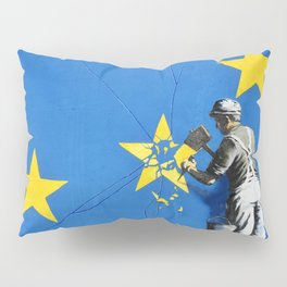 Banksy, Brexit, Euro, Breaking EU Stars, [edited, close up] Pillow Sham