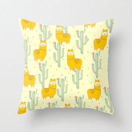 Alpaca summer pattern Throw Pillow