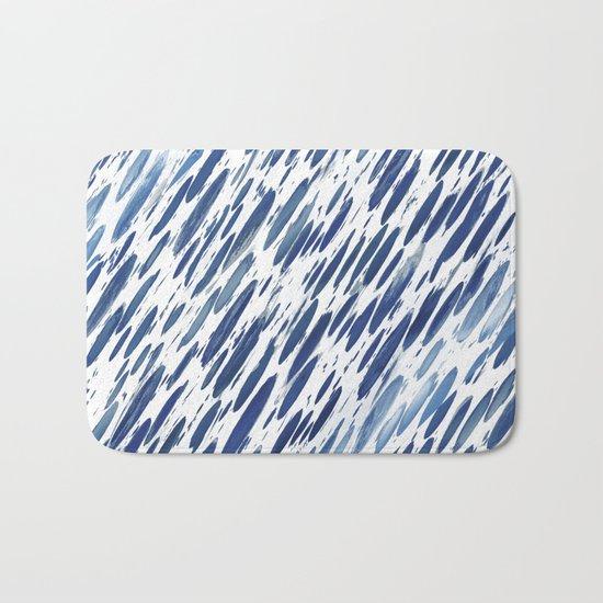 Boho Blue Brushstroke Bath Mat