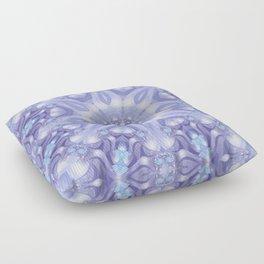 Light Blue, Lavender & White Floral Mandala Floor Pillow