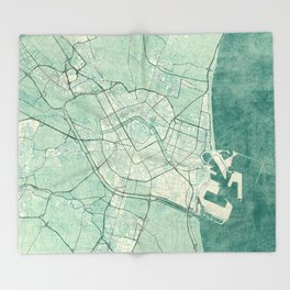 Valencia Map Blue Vintage Throw Blanket