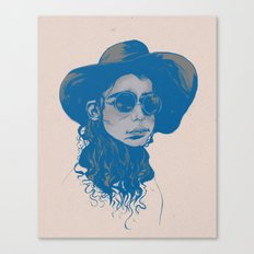 Woman in Hat and Sunglasses Canvas Print