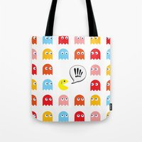 pac man Tote Bags featuring Pac-Man Trapped by Psocy Shop