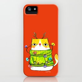 Winter kitty with Christmas lights iPhone Case
