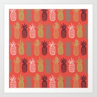 pineapples Art Prints featuring Pineapples by Annie Smith Designs