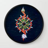 chakra Wall Clocks featuring Muladhara Chakra by DiskoGalerie
