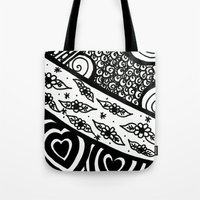 zentangle Tote Bags featuring Zentangle by Wealie