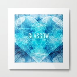 Glasgow - Street Map Art Metal Print