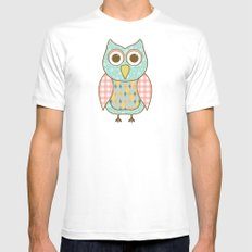Owl on Tree Branch Mens Fitted Tee MEDIUM White