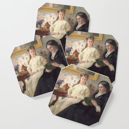 The Mother and Sister of the Artist - Marie-Joséphine & Edma by Berthe Morisot Coaster