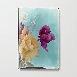 Tulips on Baby Blue Metal Print