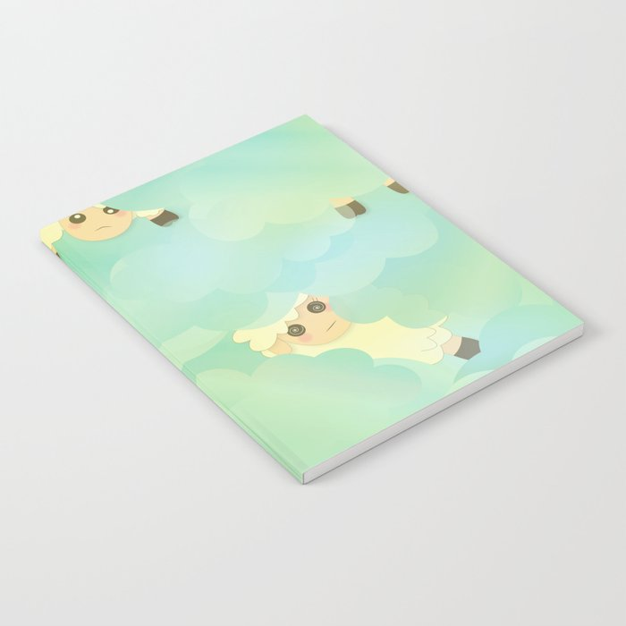 Heavenly Baby Sheep I - Mint Green, Baby Blue Colors Sky Background Notebook