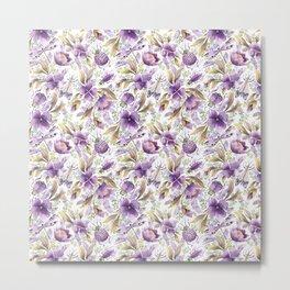 violet garden floral pattern Metal Print