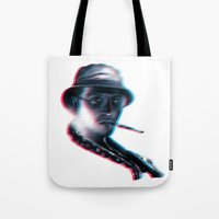 fear and loathing Tote Bags featuring Fear and Loathing in Las Vegas by Idriss Dabre