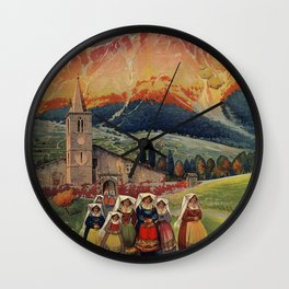 Abruzzo Italian travel back from church Wall Clock
