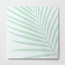 Mint Green Minimalist Palm Silhouette Metal Print