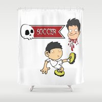 gore Shower Curtains featuring Soccer Skull by flydesign