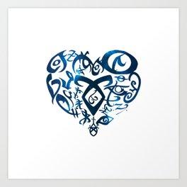 Shadowhunters rune - rune heart (blue galaxy) | Mundane | Parabatai | Alec, Izzy, Jace, Clary, Magnu Art Print