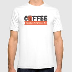 Coffee Rules Everything Around Me White Mens Fitted Tee SMALL