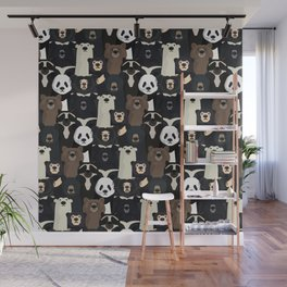 Bears of the world pattern Wall Mural