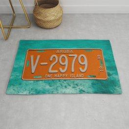 1999 Aruba License Plate One Happy Island Tag Rug