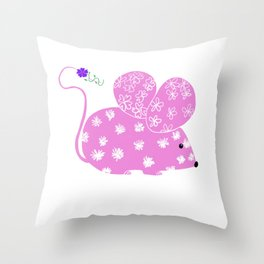 Miss Mousy Pinkie with Purple Petunia Throw Pillow
