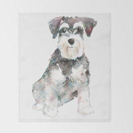 Miniature Schnauzer dog watercolors illustration Throw Blanket