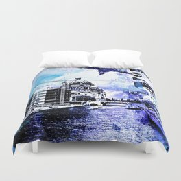 Berlin urban blue mixed media art Duvet Cover