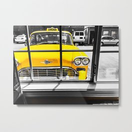 vintage yellow taxi car with black and white background Metal Print