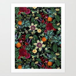 Floral and Fruit pattern Art Print