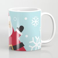 santa Mugs featuring Santa by Claire Lordon