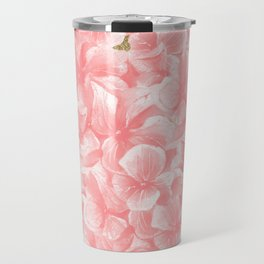 Hand painted coral white faux gold watercolor floral Travel Mug