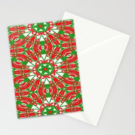 Red, Green and White Kaleidoscope 3376 Stationery Cards