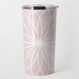 Mandala on Pink Watercolor Background Travel Mug