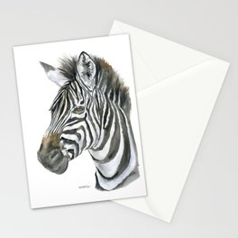Zebra Watercolor Painting - African Animal Painting Wildlife Head Bust Stationery Cards