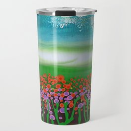 The meadow - A landscape in the background a blue sky and wildflowers Travel Mug