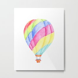 Watercolor Colorful Hot Air Balloon Metal Print