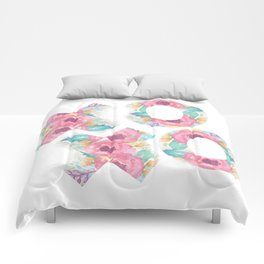 XOXO Floral Watercolor Typography Comforters