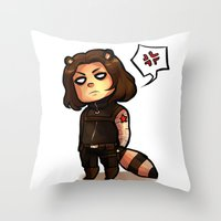 bucky Throw Pillows featuring raccoon!bucky by zombietonbo