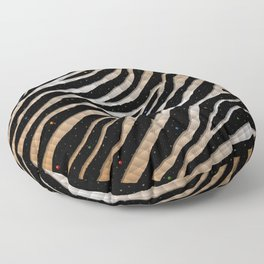 Ripped SpaceTime Stripes - Bronze/White Floor Pillow