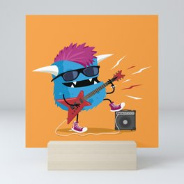 Monster punk rocks with his electric guitar Mini Art Print
