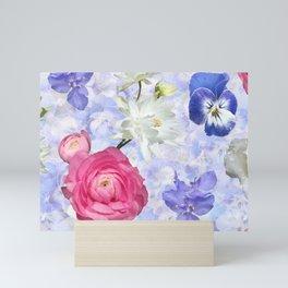 Rose Ranunculus Pansy Flowers over Pale Blue Mini Art Print