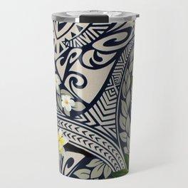 Traditional Hawaiian Tapa and Plumeria Travel Mug