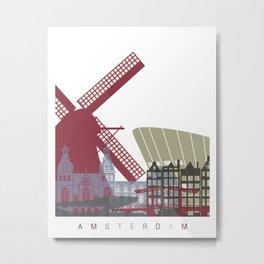 Amsterdam skyline poster Metal Print