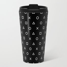 Gamer Pattern (White on Black) Travel Mug